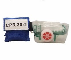 50 Blue Cpr Face Shield Mask In Pocket Keychain Imprinted Cpr 302