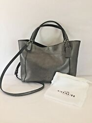 Coach 36101 Gunmetal Pebble Leather Edie 28 Small Tote with Crossbody Strap