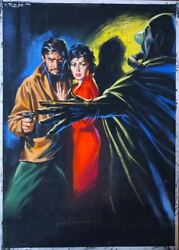 Original 1950and039s Movie Poster Illustration Art Pulp Painting Pinup Girl Woman