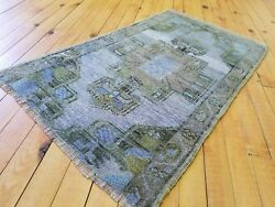 Muted Natural Dyes Antique 1'8''x 2'9 Wool Pile, Oushak Rug Western Turkey