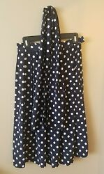 Leslie Fay Blue Polka Dot Pleated Skirt 8P Petite Vintage with Matching Scarf