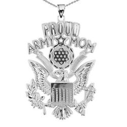 Solid 14k White Gold Proud Army Mom Pendant Necklace