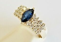 14k Solid Yellow Gold Genuine Marquise Shape Sapphire And Natural Diamond Ring