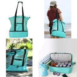 Lightweight And Foldable Mesh Tote Beach Bag With Cooler For Men And Women Kits