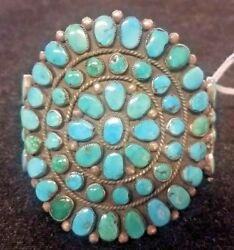 Vintage/old Pawn Native American Silver And Turquoise Cuff Bracelet. Huge