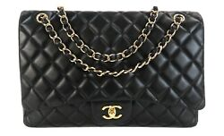 Chanel Black Quilted Leather Classic Maxi Single Flap Bag