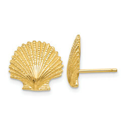 14k Yellow Gold Scallop Shell Stud Post Earrings Msrp 554