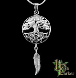 Lisa Parker Tree Of Life Dreamcatcher Pendant Sterling Silver Pagan Wiccan