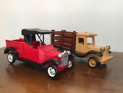 Vintage Wooden Toy Truck Stake Bed Essex Duty 1920's Style Trucks Pair