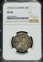 1913 A French Indo China 20 Cents Ngc Xf 45 Scarce Date Cochin Vietnam