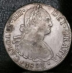 1803 Ft 8 Reale Milled Bust King Charles U.s. First Silver Dollar Bold Coin