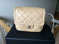 Chanel Womens Crossbody Handbag Satchel Front Flap Beige Nude Silver Hardware