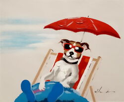 Modern Art Dog Vacation #3 20x24 Hand painted on Giclee Canvas