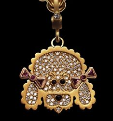 1.72ct Natural Diamond Ruby 14k Solid Yellow Gold Pet Dog Pendant For Dog Lovers