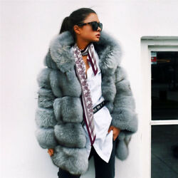 Women Fashion Natural Whole Skin Fox Fur Coat With Hood Jacket Hoodie Overcoat