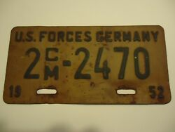 1952 U.S. Forces Germany License Plate Off Harley-Davidson motorcycle w /Sidecar
