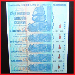 5 Pcs Zimbabwe 100 Trillion Uncirculated Sequential 2008 Aa Over 50 In Stock