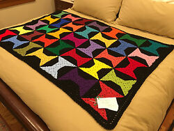 Handmade Afghan Throw  Blanket - From Designer Collection - Grandpa's Bowties