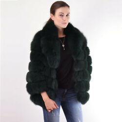 Natural Full Pelt Fox Fur Coat For Women Casual Jacket Turn-down Collar Outwear