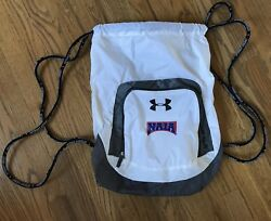 Men's Under Armour White Gray NAIA Athletic College Basketball Backpack Soft Bag