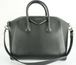 Givenchy Black Sugar Leather Medium Antigona Crossbody Satchel Bag $2450