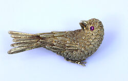Beautiful Erwin Pearl 18k Yellow Gold Finch With Ruby Eyes Pin/brooch 2- 13769