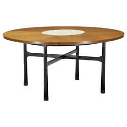 Walnut Center Table With Stone Insert By Harvey Probber
