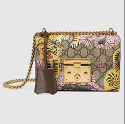NEW Gucci Bengal Padlock Bag GG Supreme Coated Canvas With Brown Leather --NWT