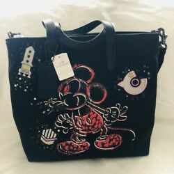 NWT Coach X Disney Mickey Mouse LOVE Black Canvas Tote Bag LIMITED EDITION RARE