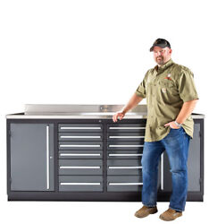7FT 12 DRAWER WORKBENCH / TOOL BOX WITH 14 GAUGE STAINLESS STEEL TOP