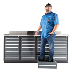 7ft Workbench / Tool Box / Tool Cabinet With 24 Drawers And Stainless Steel Top