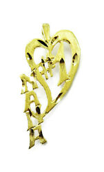 14k Yellow Gold Heart Number 1 Nana Charm Necklace Pendant 1.3g