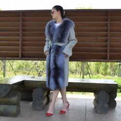 Women Real Fur Coat Natural Silver Fox Fur Collar Front Winter Belted Overcoat