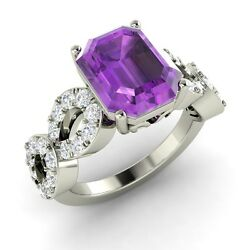 Vintage Inspired Natural Amethyst And Diamond Ring In 14k White Gold - 3.57 Tcw