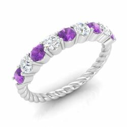 0.90 Ct Natural Amethyst And G/si Diamond Twisted Wedding Band Ring 14k White Gold