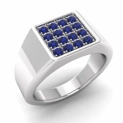 Certified 0.51 Ctw Real Blue Sapphire 14k White Gold Mens Signet Engagement Ring