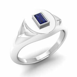 Certified 0.39ct Emerald Cut Sapphire 14k White Gold Mens Signet Engagement Ring