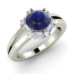 1.54 Carat Natural Blue Sapphire Engagement Ring In 14k White Gold With Diamond