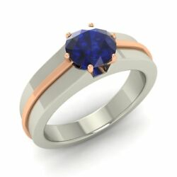 Certified 1.00 Ct Natural Blue Sapphire Mens Engagement Ring 14k White Gold