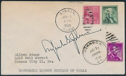 Lyndon Johnson Signature On Cover And Letter Hv8453