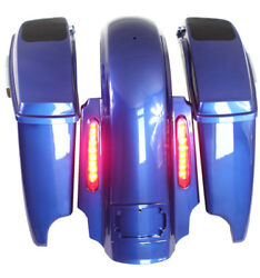 Superior Blue 4.5 Dual Cutouts 69 Speaker Lids Saddlebags For Harley 2014-2018