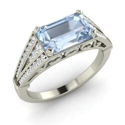 Aquamarine And Diamond Vintage Look Engagement Ring In Solid White Gold-1.58 Cttw