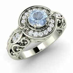 14k White Gold Antique Look Engagement Ring Certified Aquamarine And Si/gh Diamond
