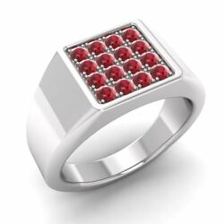Certified 0.51 Ctw Natural Ruby 14k Solid White Gold Mens Signet Engagement Ring
