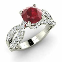Certified Genuine Ruby and GH/SI Diamonds Engagement Ring in 14k Solid Gold