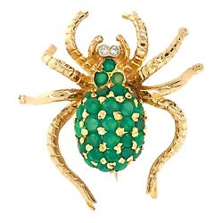 BROOCH 14K Yellow Gold Spider Pin with emeralds - Vintage Estate Jewelry