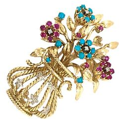Brooch 18k Yellow Gold Flower Bouquet In Vase Pin Ruby Diamond Turquoise Estate