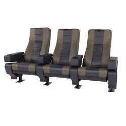 Vega Plus Commercial Movie Theater Chairs Natural Leather Two-tone Blue Gray