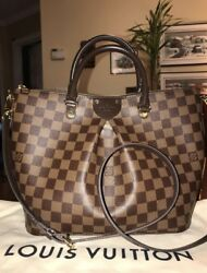 Authentic Louis Vuitton Siena MM Damier Ebene Satchel Crossbody purse