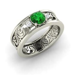 Three Stone Engagement Ring With 0.66 Cttw Emerald In Solid 14k White Gold